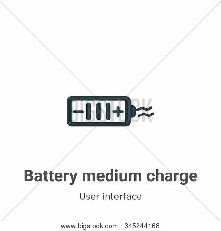 Battery medium charge icon isolated on white background from user interface collection. Battery medi