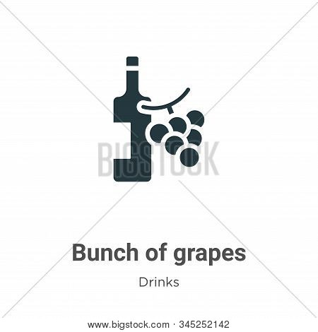 Bunch Of Grapes Vector Icon On White Background. Flat Vector Bunch Of Grapes Icon Symbol Sign From M