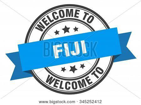 Fiji Stamp. Welcome To Fiji Blue Sign