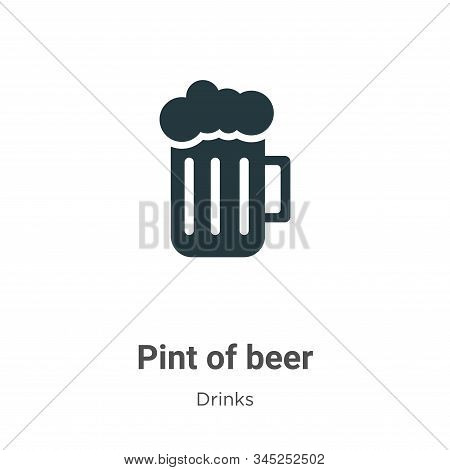 Pint Of Beer Vector Icon On White Background. Flat Vector Pint Of Beer Icon Symbol Sign From Modern