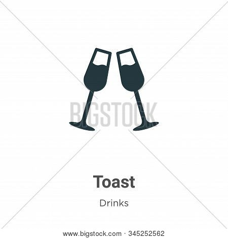 Toast Vector Icon On White Background. Flat Vector Toast Icon Symbol Sign From Modern Drinks Collect