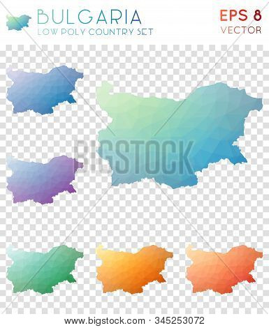 Bulgaria Geometric Polygonal, Mosaic Style Country Maps Collection. Bold Low Poly Style, Modern Desi