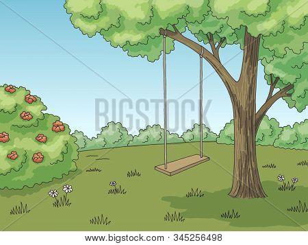 Tree Swing Graphic Color Forest Glade Landscape Sketch Illustration Vector