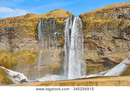 Waterfall, Iceland - Seljalandsfoss In Spring Time