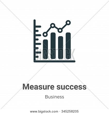 Measure Success Vector Icon On White Background. Flat Vector Measure Success Icon Symbol Sign From M
