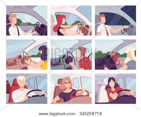 People Driving Cars Collection, Female And Male Drivers Characters Sitting Inside Vehicles Vector Il