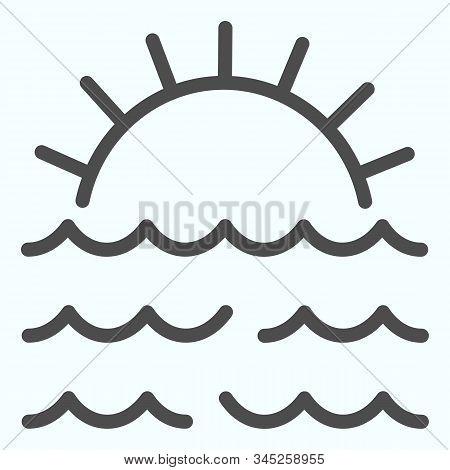 Sunset Line Icon. Sunset And Sea Waves Illustration Isolated On White. Marine Sunset Outline Style D