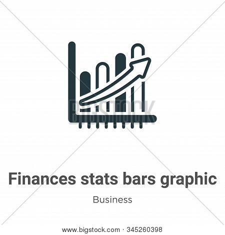 Finances stats bars graphic with up arrow vector icon isolated on white background from modern busin