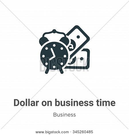 Dollar on business time icon isolated on white background from business collection. Dollar on busine