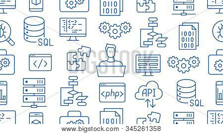 Software Development Seamless Pattern With Flat Line Icons. Programming Language Background, Applica