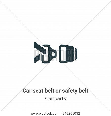 Car Seat Belt Or Safety Belt Vector Icon On White Background. Flat Vector Car Seat Belt Or Safety Be