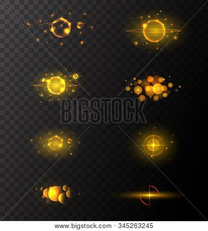 Golden Sparkling Light Trails. Sparkling Glitter Flashes. Shining Particles With Sparkler Tails. Col