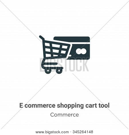 E commerce shopping cart tool icon isolated on white background from commerce collection. E commerce