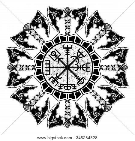 Black Scandinavian Tattoo. Magic Navigation Vikings Compass. Runic Talisman. Nordic Style. Celtic Sa