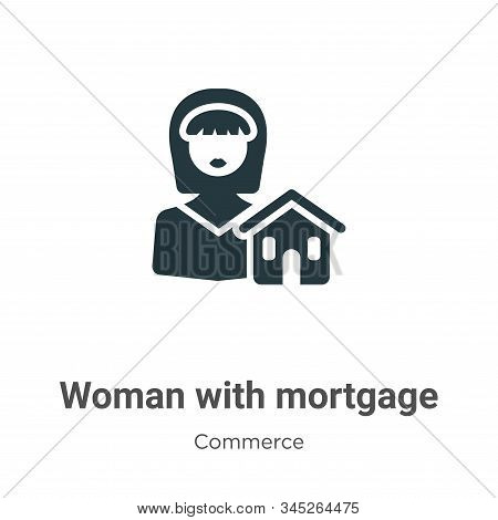 Woman With Mortgage Vector Icon On White Background. Flat Vector Woman With Mortgage Icon Symbol Sig