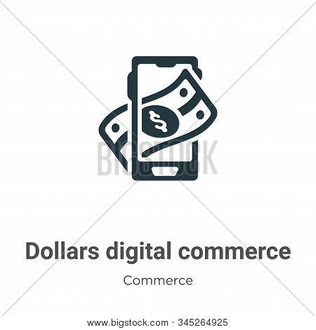 Dollars Digital Commerce Vector Icon On White Background. Flat Vector Dollars Digital Commerce Icon