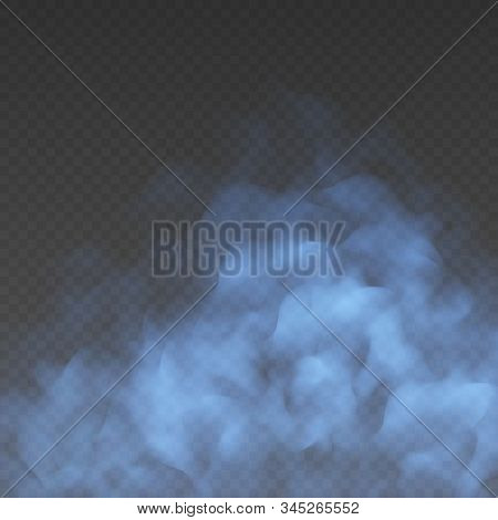 Blue Fog Or Smoke Cloud Isolated On Transparent Background. Realistic Smog, Haze, Mist Or Cloudiness