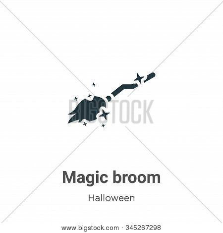 Magic Broom Vector Icon On White Background. Flat Vector Magic Broom Icon Symbol Sign From Modern Ha