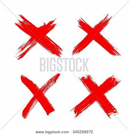 Rejection Symbol. Red X Icons Isolated On White Background. Hand Drawn Crossed Brush Strokes. Button