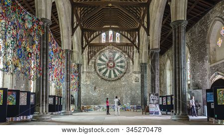 Winchester, Uk - July 27, 2012. King Arthurs Round Table And The Great Hall In Winchester Castle, Ha