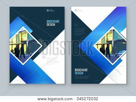 Blue Brochure Cover Background Design. Corporate Template Layout For Business Annual Report, Catalog