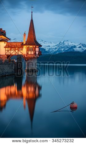 Nightscape Of Tower Of Amazing Oberhofen Castle On Lake Thun, Switzerland