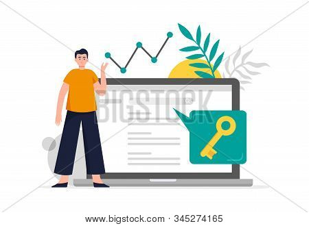 Search Engine Optimization Concept. Man Do Keywords Research To Improve Website Page Rank. Flat Vect