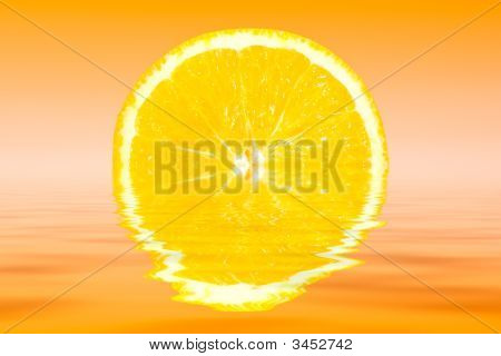 Fresh Sliced Orange Reflected In Water