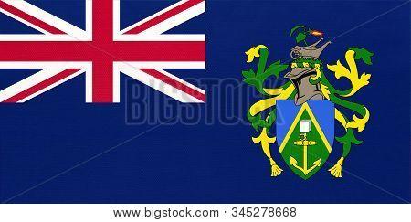 Pitcairn Islands National Fabric Flag, Textile Background. Symbol Of International British Overseas