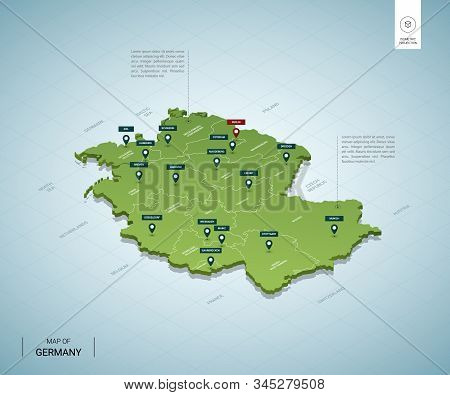 Stylized Map Of Germany. Isometric 3d Green Map With Cities, Borders, Capital Berlin, Regions. Vecto