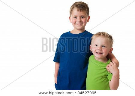 Two young boys on white background