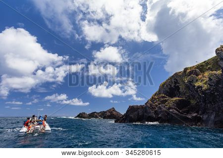 Santa Cruz Das Flores, Portugal - August 9: Unidentified People On A Boat Near Santa Cruz Das Flores