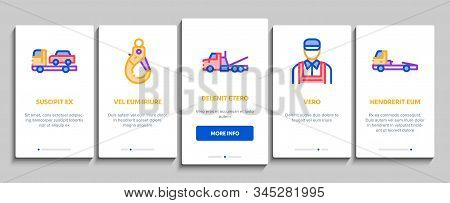 Tow Truck Transport Onboarding Mobile App Page Screen Vector. Tow Truck Evacuating And Transportatio