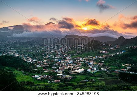 Beautiful Sunset Over San Cristóbal De La Laguna With Iconic Teide In The Background, Seen From Mira