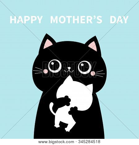 Mother Cat Holding Hugging Little Baby Kitten. Happy Mothers Day. Kittens On Hands. Kitty Hug. Funny