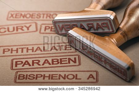 3d Illustration Of Two Rubber Stamps With The Words Paraben, Bisphenol A And Phthalate Printed On Pa