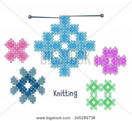 Knitwear On A White Background. Knitted Ornament. Vector Illustration.