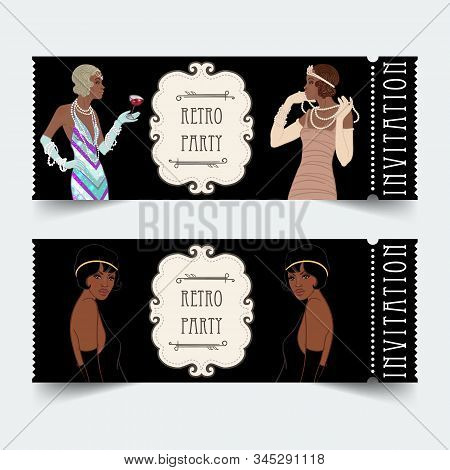 Retro Fashion. Glamour Girl Of Twenties, African American Woman. Vector Illustration. Flapper 20s St