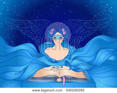 Fortune Telling. Young Beautiful Woman In Mask An Scarf Reading An Ancient Book. Vector Illustration