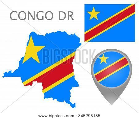 Colorful Flag, Map Pointer And Map Of Democratic Republic Of The Congo In The Colors Of The Dr Congo