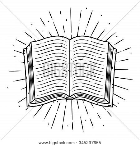 Hand Drawn Vector Illustration With A Book And Divergent Rays. Used For Poster, Banner, Web, T-shirt
