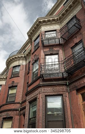Ornate Architectural Details On Urban Brownstone Apartments, City Housing, Horizontal Aspect