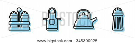 Set Line Kettle With Handle , Salt And Pepper , Kitchen Apron And Salt Icon. Vector