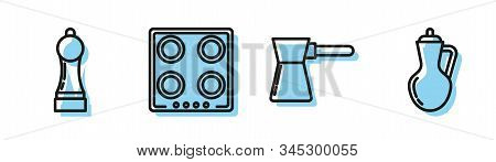 Set Line Coffee Turk , Pepper , Gas Stove And Bottle Of Olive Oil Icon. Vector