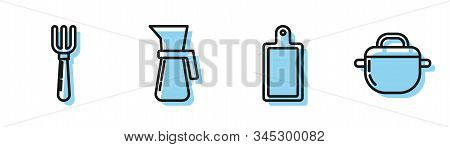 Set Line Cutting Board , Fork , Measuring Cup And Cooking Pot Icon. Vector