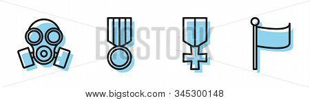 Set Line Military Reward Medal , Gas Mask , Military Reward Medal And Flag Icon. Vector