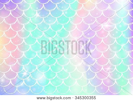 Rainbow Scales Background With Kawaii Mermaid Princess Pattern. Fish Tail Banner With Magic Sparkles