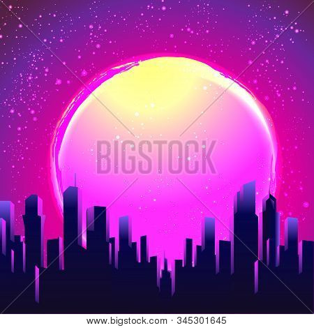 Retro Futurism. Vector Futuristic Synth Wave Illustration. 80s Retro Poster Background With Night Ci