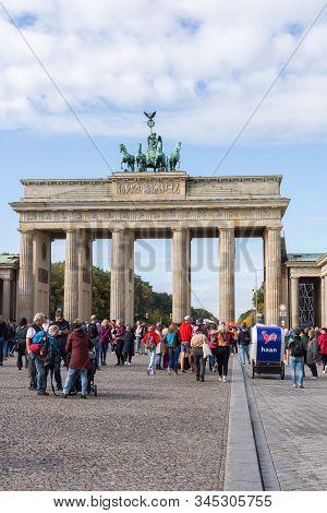 Berlin, Germany- September 28, 2019: The Brandenburg Gate , Brandenburger Tor And A Square Pariser P