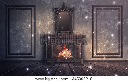 Dark Room With Brick Walls. Room Interior With Fireplace And A Large Magic Mirror. Wooden Fireplace,